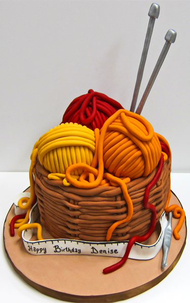 Knitting Yarn And Needle Basket Cake