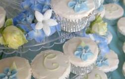 Hydrangea & Monogram Cupcakes