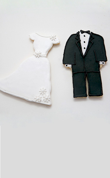 Wedding Dress & Tux Cookies