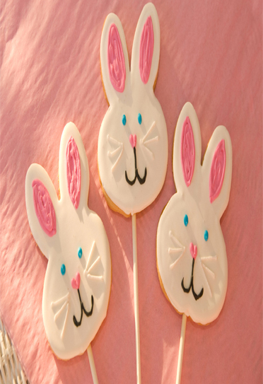 Easter Bunny Face Cookie Pops
