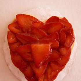 Fresh Strawberry Heart Shaped Fruit Tart