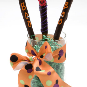 Halloween Chocolate Pretzel Rods