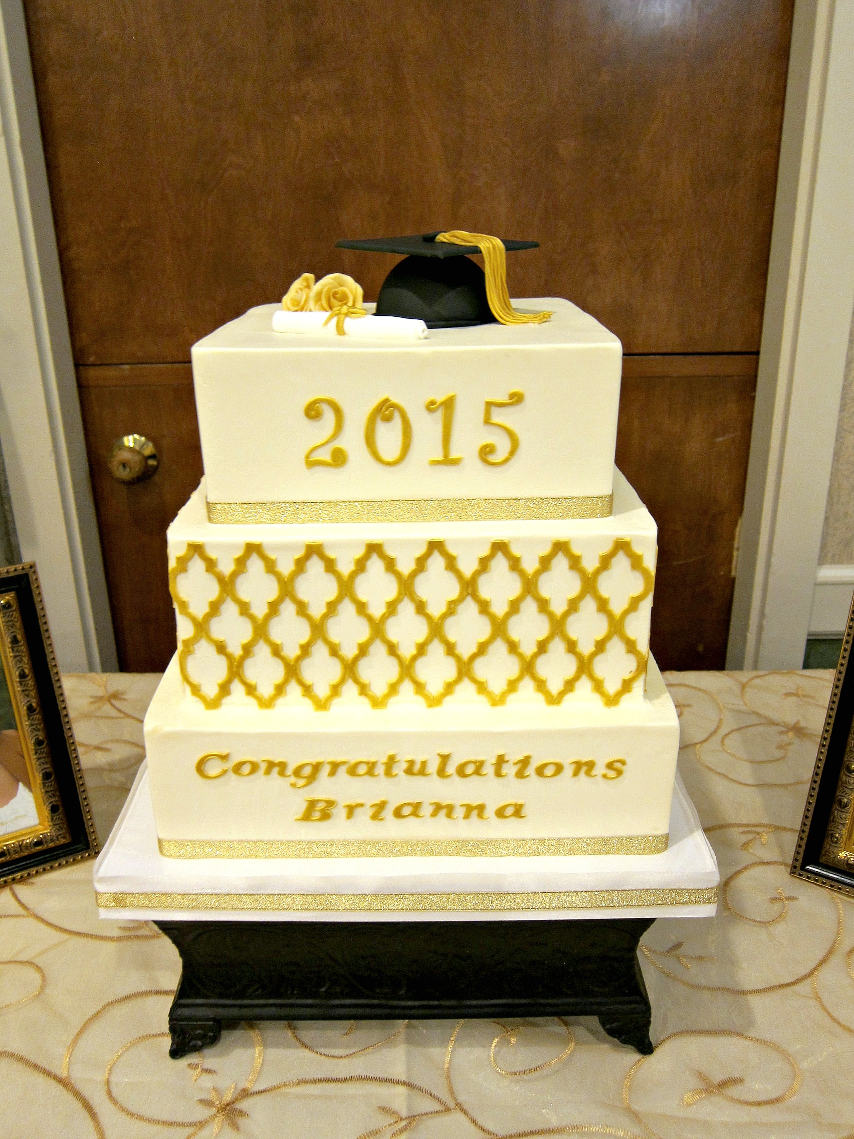 Gold Lattice Graduation Cake | Scrumptions